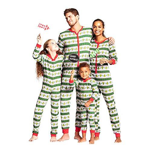 Hzjundasi Zusammenpassen Weihnachten Schlafanzug Nachtwäsche - Weihnachten Gedruckt Overall Eltern-Kind Body Familie Pyjama Freizeitkleidung