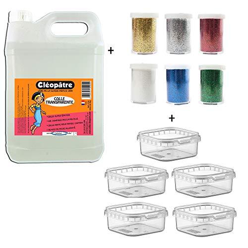Cléopâtre CT2L-PAILL2 Kleber, transparent, 6 Tuben Pailletten + Aufbewahrungsboxen, 2 kg
