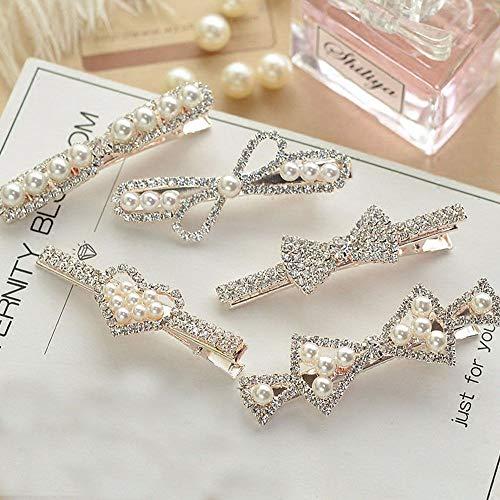 N/ A 13pcs en épingle à Cheveux Strass Cristal Brillant coréenne Accessoire géométrique Cheveux en épingle à Cheveux de Perles de Cristal Imitation Arc Coeur rectangulaire