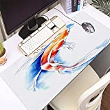 FAQIMEI Alfombrilla Gaming para PC Colorido Acuarela Koi Carpa Animales Fauna Silvestre Pez Naturaleza Chino Japón Primavera Máxima Precisión con Base de Caucho Natural, Máxima Comodidad