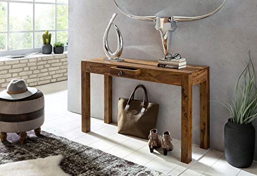 KADIMA DESIGN Consolle tavolo in legno massello di 110 cm con cassetto spogliatoio scrivania tavolo