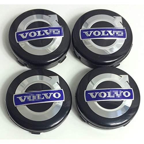 Car Auto Wheel Center Cover Hub Caps Tapacubos Llanta de Coche Cubiertas con Emblema de Insignia para Volvo C70, S60, V60, V70, S80, XC90, Accesorios de Estilo de Coche, 64 mm, 4 Piezas