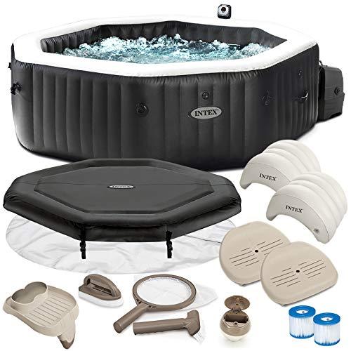 Intex Whirlpool PureSpa 28462 für 6 Personen, Bubble, Jet & Salzwassersystem Komplett-Set mit Extra-Zubehör wie: 2 Sitzissen, Reinigungsset und Getränkehalter