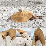 Mangjiu 帽子 帽子 レディース 大きいサイズ 夏 遮光 紫外線 日傘帽子 ファッション大規模な日曜日の帽子浜の反紫外線日曜日の保護折り畳み式のわらの帽子カバー (カーキ)