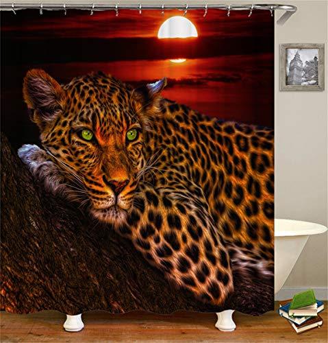 Fansu Cortina de Ducha Antimoho Impermeable Antibacteriano, 3D Impresión Animal Diseño Transparente Cortina de Baño/Ducha/Bañera 100% Poliéster con 12 Anillos (180x200cm,Leopardo)
