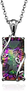 Belloc Flower of Rainbow Tourmaline Pendant Necklace Silver Chain Necklace Elegant Jewelry for Women