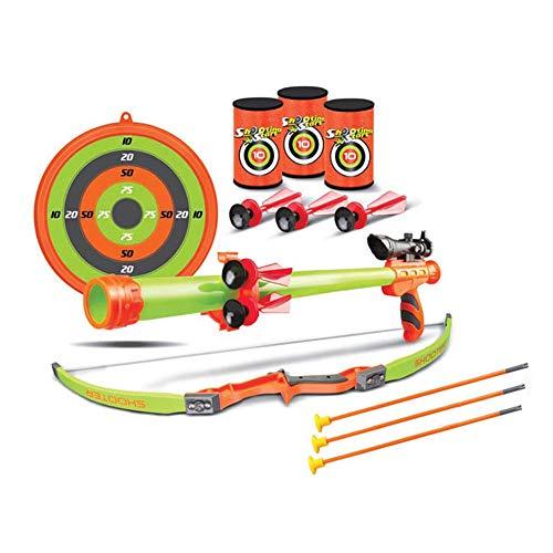 Palm Arco e frecce per Bambini Giocattolo Arco con frecce per Bambini Arco e Frecce per Bambino Incluso Arco Cerbottana Barattoli frecce