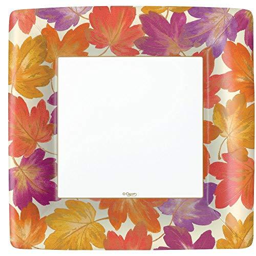 Caspari Fallen Leaves Square Paper Dinner Plates in Ivory - 16 Count