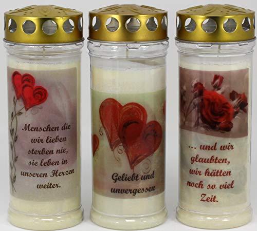 Kerzen Junglas 3 Stück Grablichter, Grabkerzen, 3er Set mit Spruch und Motiv Herz, Größe 21x7,5 cm - Brenndauer ca. 7 Tage je Grablicht - 3862 – Elegante Gedenkkerzen, Trauerkerzen mit Spruch.