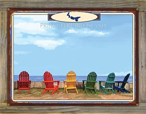 Northwest Art Mall Prince Edward Island Adirondack Chairs Rustic Metal Print on Reclaimed Barn Wood from Alla Prima Painting by Artist Joanne Kollman 18' x 24'