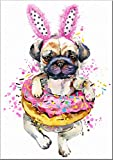 7Dots Art. Fun Popcorn, Donuts and Lollipops Dogs. Watercolor Art Print, Poster 8'x10' on Fine Art Thick Watercolor Paper for Living Room, Bedroom, Bathroom. Funny Wall Art Decor. (Pug dog3)