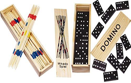 Domino Holzspielzeug mit 28 Dominosteinen (2er Set Domino + Mikado)