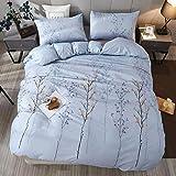 LAMEJOR Duvet Cover Sets Twin Size Boho Style Colored Jungle Tree Pattern Luxury Soft Bedding Set Comforter Cover (1 Duvet Cover+2 Pillowcases) Pale Blue