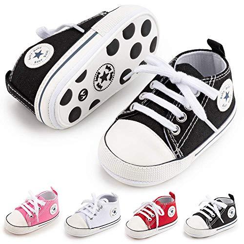BiBeGoi Baby-Sneaker für Jungen und Mädchen, aus Segeltuch, hohe Schnürung, Freizeitschuhe für Neugeborene, Krippenschuhe, Lauflernschuhe, Schwarz - B01 schwarz mit Gummisohle - Größe: 6-12 Monate