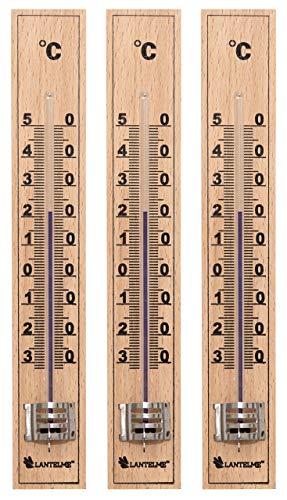 Lantelme 7837 - Set di 3 termometri in legno di faggio, analogici, per esterni come il giardino e interni come la camera da letto