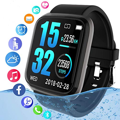 Fitness Tracker,Activity Tracker Smart Watch with Heart Rate Monitor Touchscreen,Waterproof Bluetooth Smartwatch Sport Fitness Tracker Watch Compatible with Android iOS Phone Kids Women Men