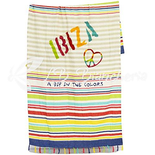 RP toalla playa fouta Maxi cm 100x 200–100% algodón con flecos–Ibiza–Multicolor