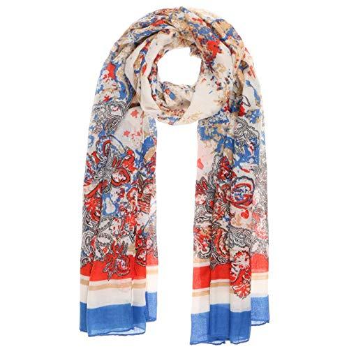 Lipodo Flowers & More Damenschal Sommerschal Schal Damen - Frühling-Sommer - One Size blau-rot