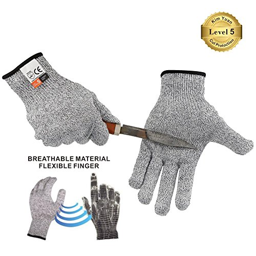 KIM YUAN Touch Screen Cut Resistant Kitchen Safety Gloves High Performance Food Grade Level 5 Protection,Hand safety for Oyster Shucking, Fish Fillet Processing, Meat Cutting and Wood Carving Size XL
