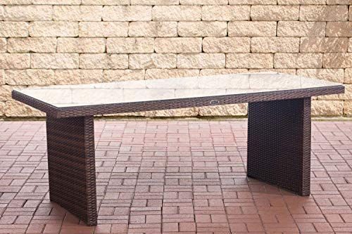 CLP Polyrattan Tisch Avignon I Gartentisch Aus Flachrattan I Esstisch In Verschiedenen Größen, Farbe:braun-meliert, Größe:200 cm