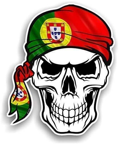 CTD Calavera con Cabeza Bandana diseño con Portugal portugués Bandera de país de la Novedad Vinilo Adhesivo Coche 100x 120mm