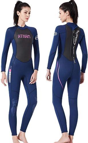 JASZHAO 3mm néoprène Wetsuit Femmes Maillot de Bain équipeHommest pour la plongée sous-Marine Natation Surf Spearfishing Costume Triathlon Combinaisons,bleu,S