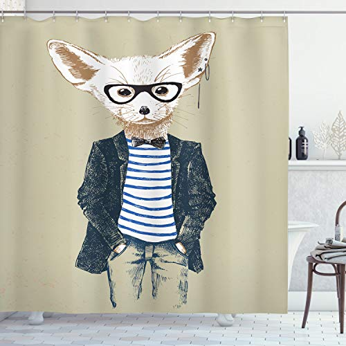 ABAKUHAUS Hipster Douchegordijn, Cool Fennec met Oorbellen, stoffen badkamerdecoratieset met haakjes, 175 x 200 cm, Pale Khaki Multicolor