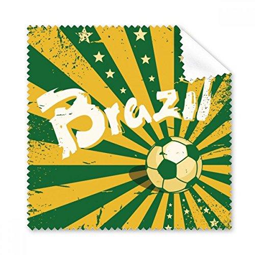 DIYthinker Fußball Gelb Grün Brasilien Slogan Brasilien Kultur Illustration Gläser Tuch Reinigungstuch Geschenk Telefon Screen Cleaner 5pcs