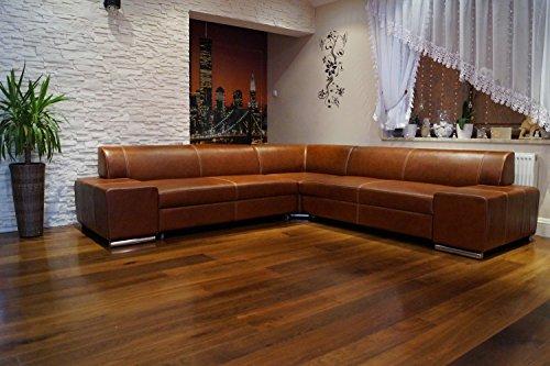 Quattro Meble Ecksofa London II RE 247 x 242 Braun Echtleder mit Ziernaht Sofa Couch Ledersofa Echt Leder Eck Couch Ledermöbel große Farbauswahl