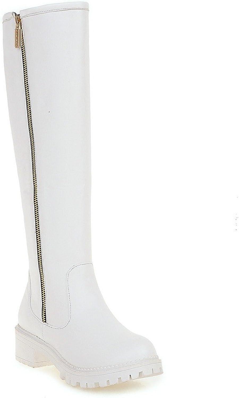 AIWEIYi Womens Round Toe Side Long Zipper Square Low Heels Knee High Boots Black