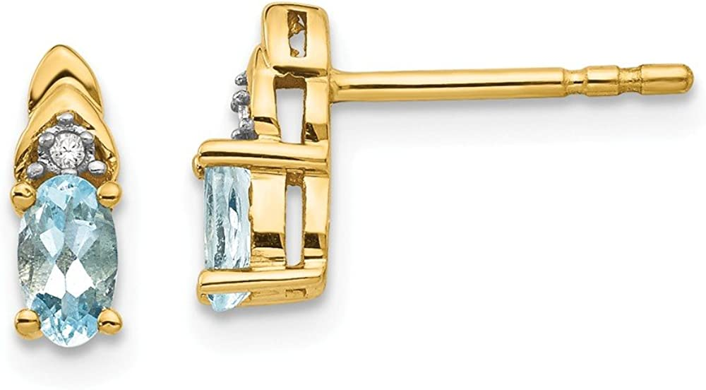 14k Yellow Gold Blue Aquamarine Diamond Post Stud Earrings Drop Dangle Birthstone March Fine Jewelry For Women Gifts For Her