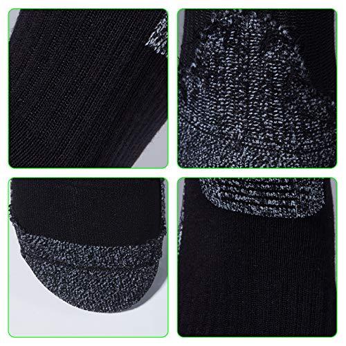 Teebulen Men's Black 5-Pack Padded Anti Odor Blister Resist Quarter Crew Hiking Socks, Size 7-12