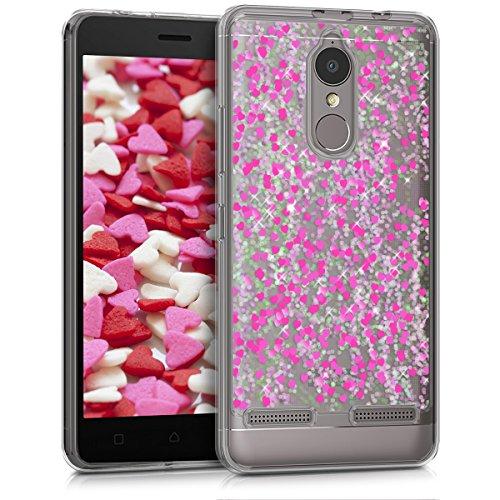 kwmobile Lenovo K6 Hülle - Handyhülle für Lenovo K6 - Handy Case in Schneekugel Herzen Design Pink Transparent
