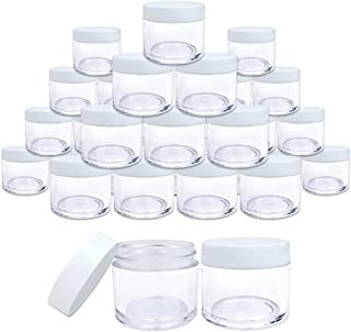 (Quantity: 30 Pieces) Beauticom Premium 30G/30ML (1 Oz) Round Clear Jars with White Flat Top Lids for Beads, Gems, Glitte...