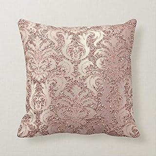 Yilooom Funda de cojín de 45,72 x 45,72 cm para cama, sofá, oficina, decoración de metal perlado, damasco, rosa, oro rosa, rubor, funda de almohada