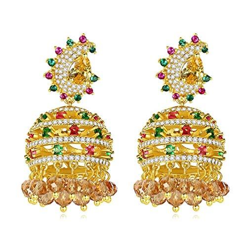 Pendientes colgantes de cristal para mujeres y niñas, aretes étnicos bohemios, borla de circón, campana, colgantes