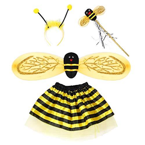 YO-HAPPY Baby Fairy Kostüm Set Marienkäfer Bee Cosplay Kleid Glitter Wing Striped Layered Tutu Rock Geburtstag Party Kleid