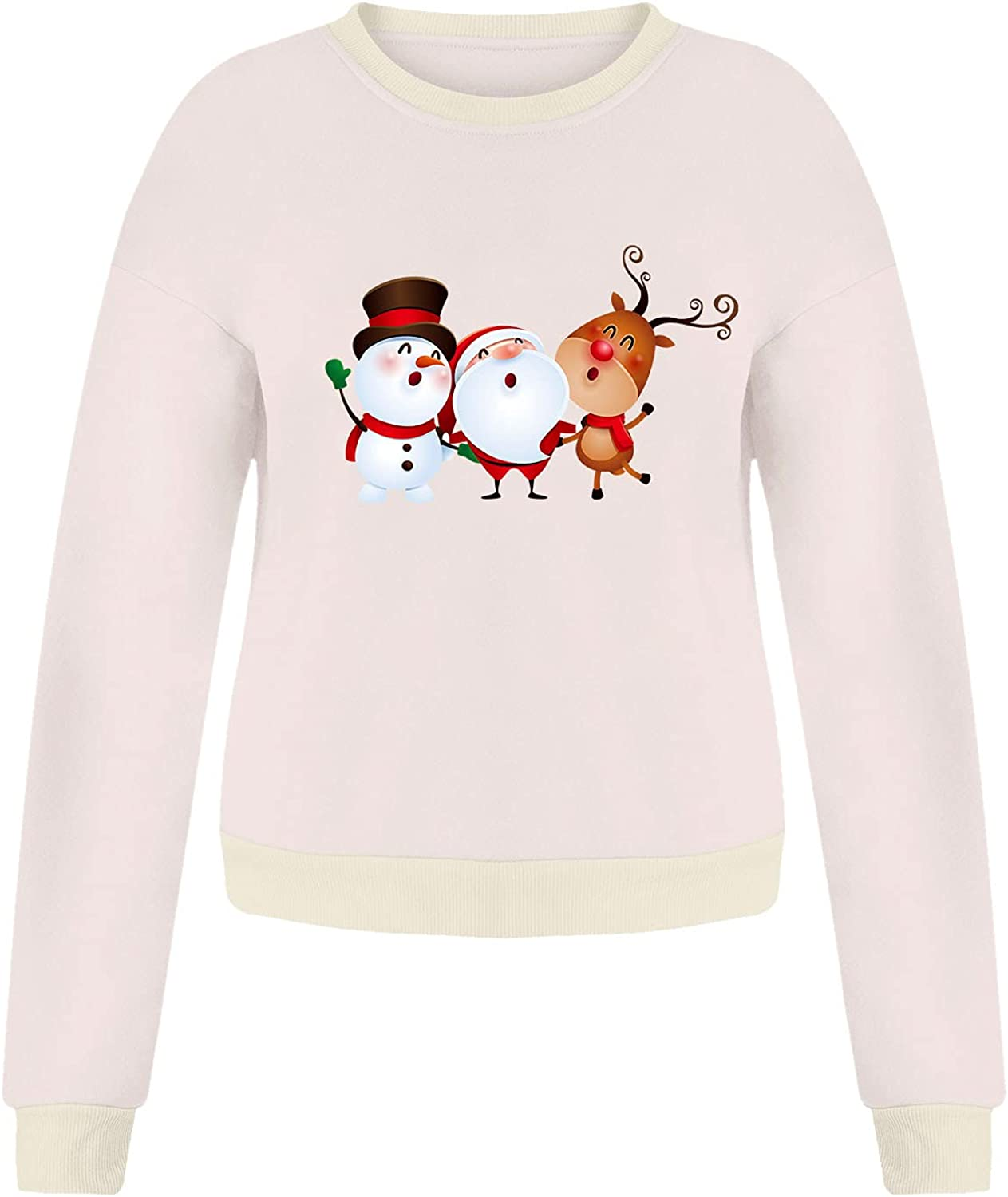 Christmas Graphic Sweatshirts for Women Fashion Crewneck Long Sleeve Pullover Cute Snowman Elk Casual Oversized Tops