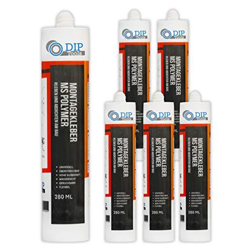 DIP-Tools Universal-Montagekleber - extra stark zum Kleben und Dichten (6x290ml, weiß)