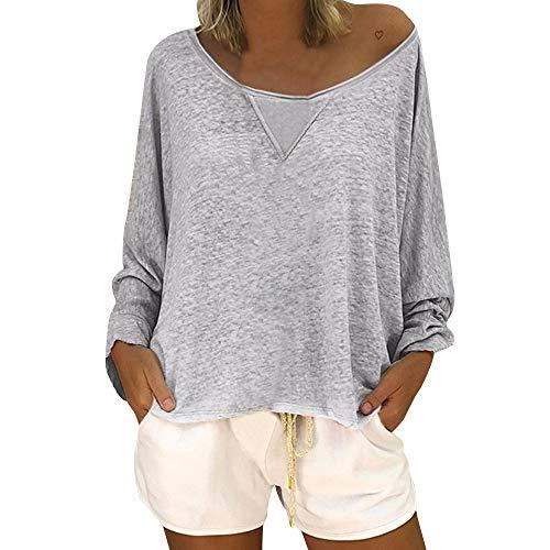 OSYARD Damen Baumwolle Lockere Bluse, Frauen Mode LäSsige Lockere Bluse Lange ÄRmel Schaufel Hals Solid Color Shirt Tops Pullover (3XL, Grau)