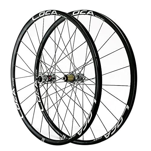 LICHUXIN 700C Ruedas De Bicicleta De Carretera Freno Disco Juego Ruedas Bicicleta Eje Pasante 24H Aleación de Aluminio llanta de Doble Pared 8-12 Velocidad (Color : Silver-2, Size : 700C)