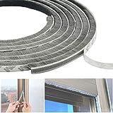 DINGZHAO - Striscia di tenuta per porta, 6 m, per finestre, in feltro ad alta densità, per spazzolare le intemperie, antivento e antipolvere, con guarnizione autoadesiva (9 x 9 mm, grigia)