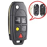 Beefunny Replacement Folding Remote Key Case Fob 5 Button for Volvo XC70 XC90 2003-2014 (1)