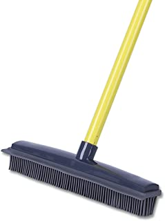 Push Broom - Soft Bristle 59'' Rubber Broom Carpet Sweeper with Squeegee Adjustable Long Handle, Removal Pet Human Hair