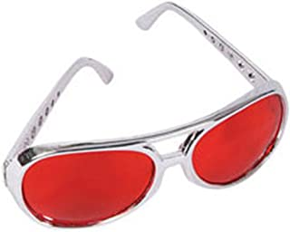 Red Lens Silver Frame Elvis Aviator Rock Star Glasses