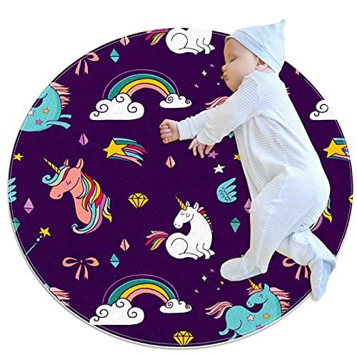 Alfombra de diseño Redonda Unicornio Caballo Diamante Estrellas Kids - Alfombra Infantil Redonda - 3 tamaños, Estampado Lavable Alfombra Grandes para Salón, Dormitorio 80cm