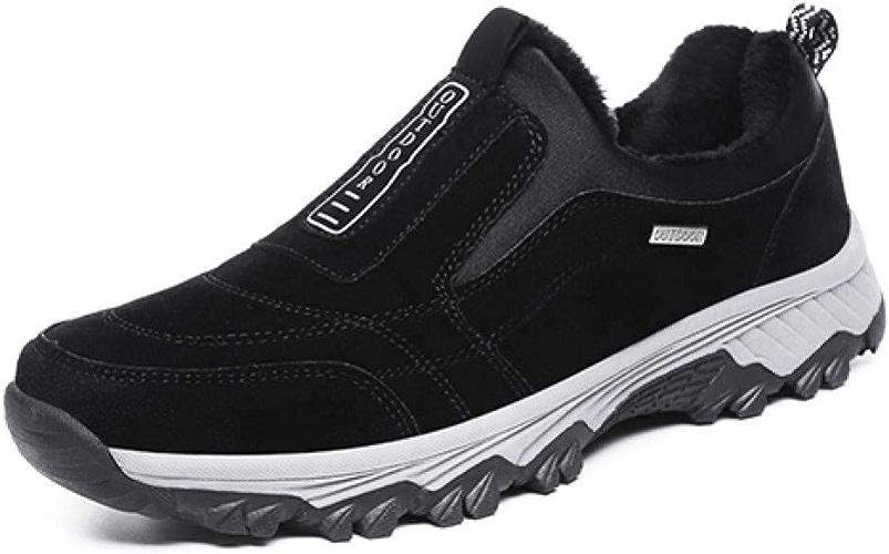 QLJ01 Hiver Hommes Chaussures De Randonnée avec De La Fourrure Chaude Escalade Chaussures Hommes Baskets Doux Trekking Athletic Chaussures Neige Chaussures