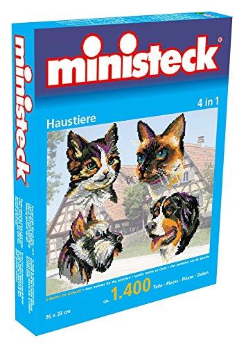 Ministeck 31702 - Mosaikbild Haustiere 4in1 mit ca. 1400 Steinen und 4 Motiv-Vorlagen, inkl. Platte, Hebel und Bildaufhänger, ca. 26 x 33 cm, ideales Geschenk für kreatives Spielen