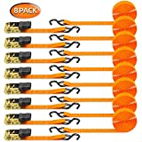 Ratchet Tie Down Strap 8-Pack 15 Ft - 500 lbs Load Cap with 1500 lbs Breaking Limit, Ohuhu Ratchet Tie Downs Logistic Cargo Straps for Moving Appliances, Motorcycle, Orange