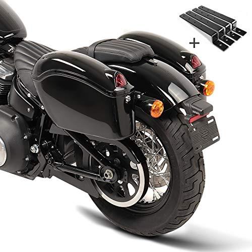 Alforjas rigidas (par) Moto Custom Craftride Nebraska 12l + Kit de Montaje para Honda Rebel CMX 500, Shadow 750 Black Spirit, VT 125/600/ 750 C/ 1100 C2